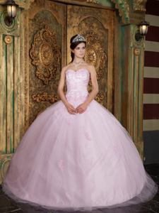 Germantown Baby Pink Ball Gown Sweetheart Quinceanera Dress with Appliques