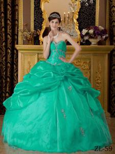 Turquoise Sweetheart Organza Appliques Quinceanera Dress in Gaithersburg MD