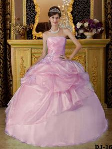 Strapless Light Pink Ruched Ball Gown Beading Sweet 16 Dresses near Columbia