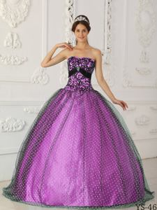 Black and Purple Strapless Beading and Appliques Quinceanera Gowns in Annapolis