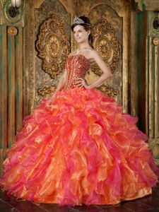 Multi-Colored Strapless Organza Beaded Ruffled Quinceanera Dress
