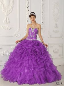 Lavender Sweetheart Appliqued Quinceanera Dress with Ruffles in Longview