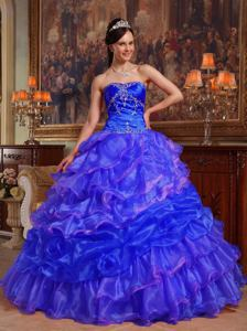 Blue Sweetheart Floor-length Beaded Quince Dress with Pick Ups in Allentown