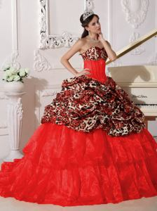 Leopard Appliques Red Quinceanera Gown Dress with Brush Train