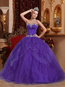 Sweetheart Tulle Beaded Appliqued Quinceanera Dress in Purple in Ituzaingo