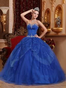 Blue Sweetheart Floor-length Tulle Beaded Appliqued Quince Dress