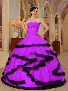 Fuchsia Strapless Floor-length Organza Quince Dress with Appliques