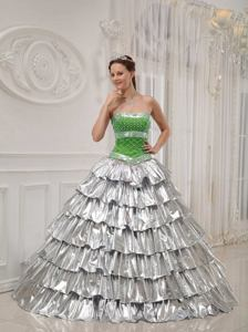 A-line Strapless Floor-length Quinceanera Dress with Beading in Libertad