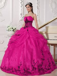 Strapless Floor-length Appliqued Quince Dress Coral Red and Black