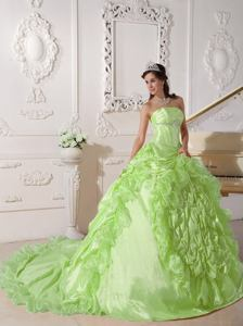 Yellow Green Strapless Beaded Sweet 16 Dresses with Chapel Train