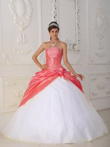Orange Red and White Strapless Quinceanera Dress with Appliques