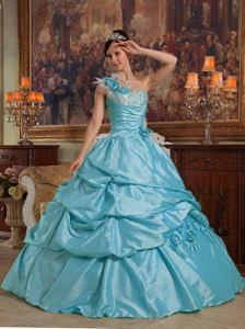 Baby Blue One Shoulder Quinceanera Dress with Hand Flowers in San Justo
