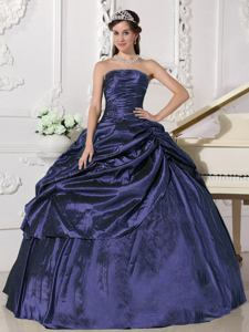 Purple Strapless Floor-length Quinceanera Dress with Beading in San Justo