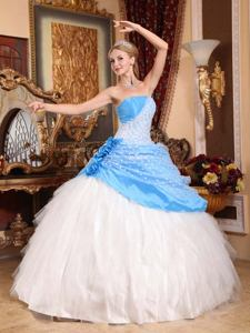 Strapless Taffeta and Tulle Hand Flowery Quinceanera Dress in Temperley