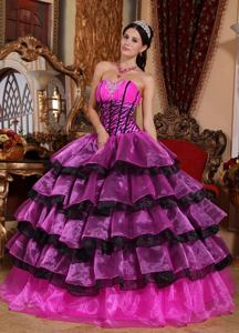 Multi-colored Sweetheart Organza Quinceanera Dress with Ruffles in Burzaco