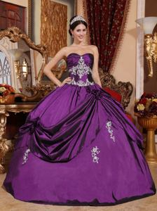 Eggplant Purple Sweetheart Quinceanera Dresses with Appliques in Santa Rosa