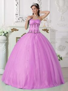 Sweetheart Floor-length Beaded Quinceanera Dress in Lavender in San Justo