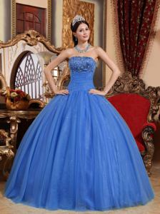 Blue Strapless Floor-length Embroidered Quince Dress with Beading