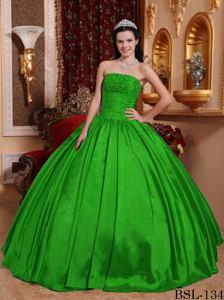 Green Strapless Floor-length Quinceanera Dress with Beading in Mendoza