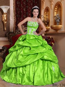Strapless Taffeta Appliqued Quinceanera Dress in Spring Green in Temperley