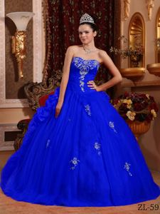 Blue Sweetheart Floor-length Quinceanera Dress with Appliques in Ituzaingo