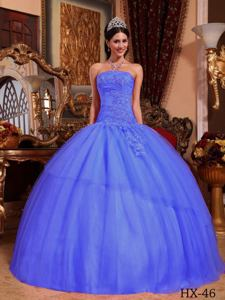 Strapless Tulle Appliqued Quinceanera Dress with Beading in Purple