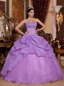 Lavender Strapless Organza Quinceanera Gown Dress with Beading