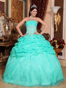 Strapless Floor-length Appliqued Quince Dress in Turquoise in Moreno Argentina