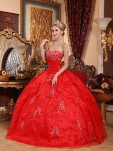 Red Floor-length Organza Quinceanera Dress with Appliques in Eldorado