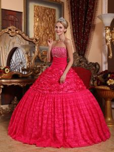 Strapless Beaded Quinceanera Dress with Rolling Flowers in Red in Mendoza