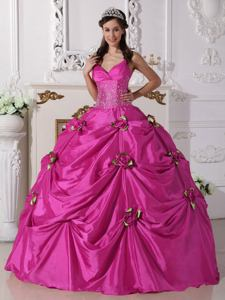 Floor-length Taffeta Beaded Dress for Quince with Spaghetti Straps