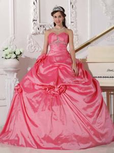 Red Sweetheart Beaded Quinceanera Gowns with Hand Flowers in San Rafael