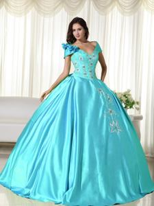 Off the Shoulder Taffeta Embroidered Quinceanera Dress Baby Blue