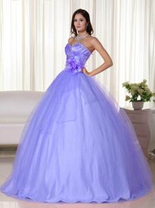 Lilac Sweetheart Floor-length Tulle Quinceanera Dress with Beading