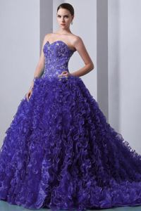 Purple Sweetheart Appliqued Ruffled formal Quinceanera Dresses in Breckenridge