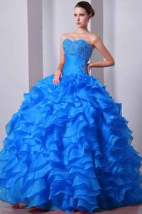 Sweetheart Beaded Ruffled Exclusive Quinceanera Dresses in Aqua Blue in Englewood