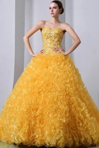 Gorgeous Sweetheart Beaded Ruffled Gold Senior Quinceanera Dresses in Durango