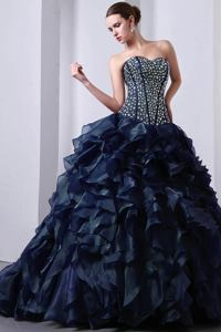 Dark Blue Sweetheart Beaded Ruffled Quinceanera Gowns with Brush Train in Denver