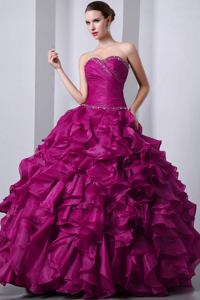Beautiful Sweetheart Beaded Ruffled formal Quinceanera Dress in Fuchsia in Boulder