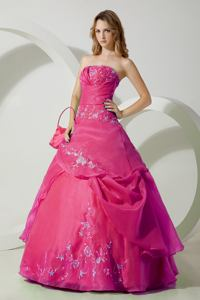 Hot Pink Strapless Embroidered Chiffon formal Quinceanera Dress in Fullerton