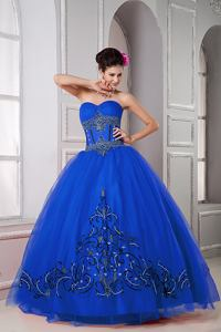 Royal Blue Sweetheart Appliqued Beaded Tulle Sweet 16 Dresses in Fountain Valley