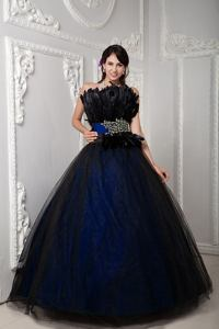 Black and Navy Blue Strapless Beaded Feathered Tulle Quinceanera Dress in Tucker