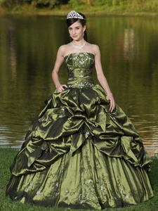 Gorgeous Strapless Beaded Appliqued Quinceanera Gowns with Pick Ups in Fresno