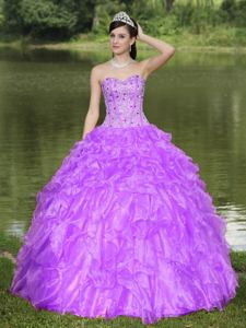 Lavender Sweetheart Beaded Ruffled Luxurious Sweet 16 Dresses in El Cajon
