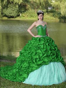 Green Sweetheart Appliqued Exclusive Quinceanera Dress with Brush Train in Chico