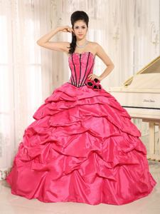 Hot Pink Sweetheart Beaded Ruffled Hand Flowery Quinceanera Dresses in Danville