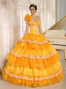 Elegant Hand Flowery One Shoulder Appliqued Ruffled Orange Quinceanera Gowns