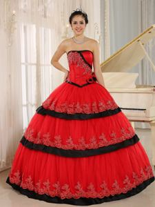 Hand Flowery Strapless Appliqued Ruffled Quinceanera Dress in Red in Canoga Park