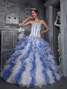 Blue and White Sweetheart Appliqued Ruffled Quinceanera Dresses in City Of industry