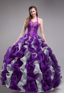 Popular Halter Purple Ruched Ruffled Quinceanera Gowns with Appliques in Chico